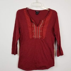 Lucky brand burgundy embroidered 3/4 sleeve top